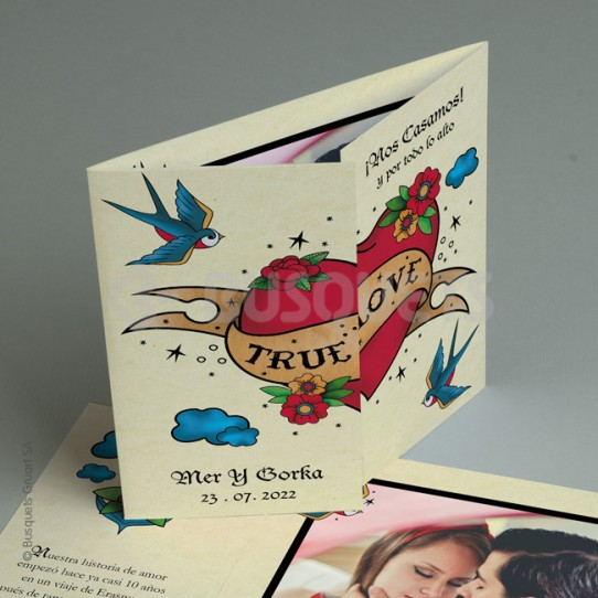 Invitación de Boda True Love Tattoo 20153
